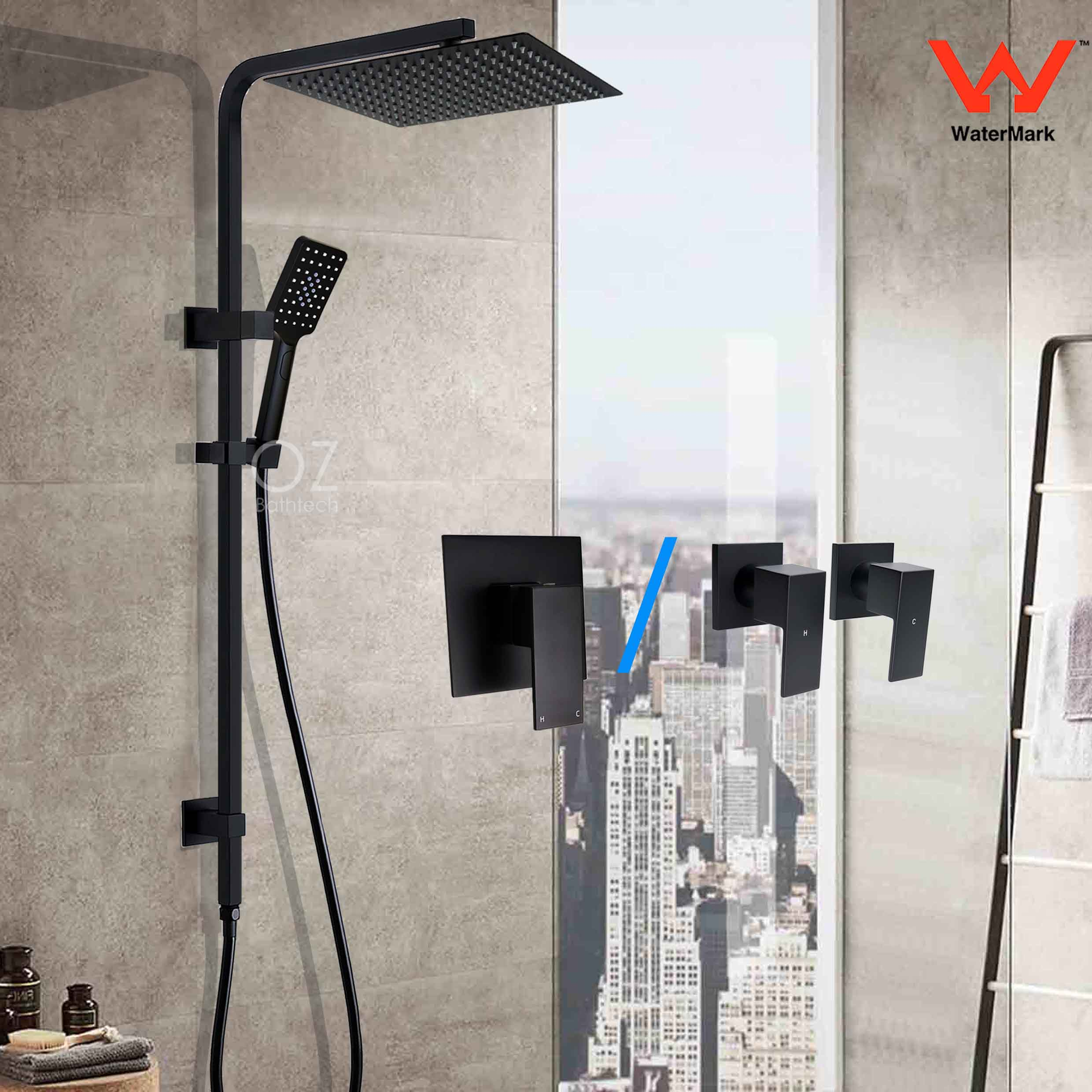 Wels 7.5L//min Twin Shower Head 3 Function Hand Held Rail Wall Arm Black Mixer
