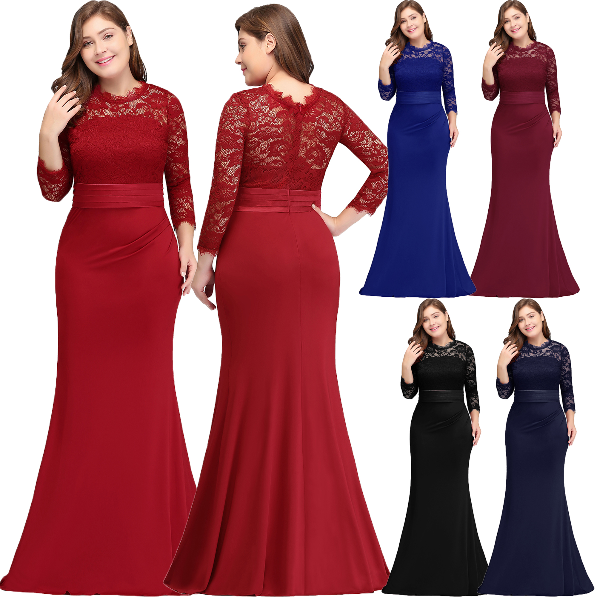 US Stock 3/4 Long Sleeves Lace Evening Prom Ball Gown Bridesmaid ...