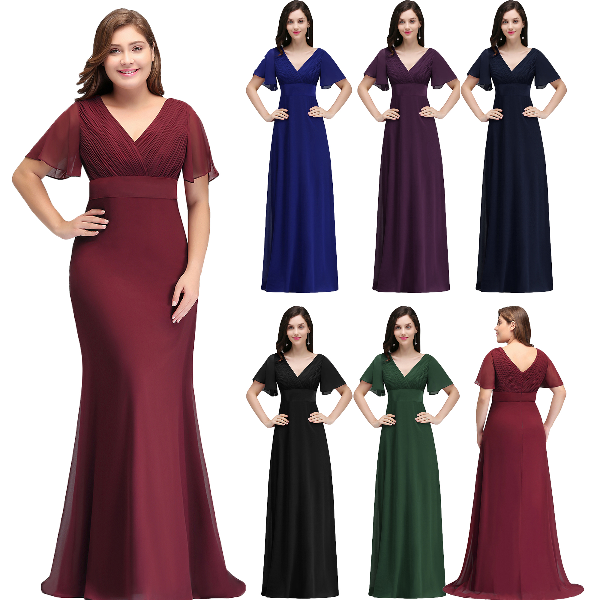 83b9427788c Stock Short Sleeves Evening Prom Party Gown Mother of Bride Dresses Plus  Size