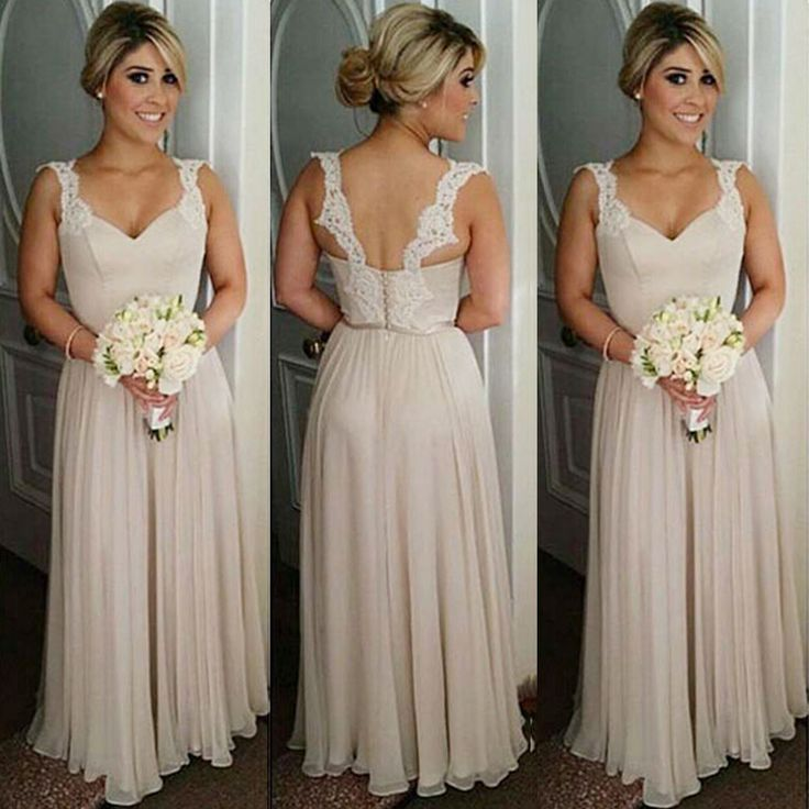 Details about New Long Lace Straps Chiffon Wedding Bridesmaid Party Dresses  Prom Evening Gowns 4e11f597b