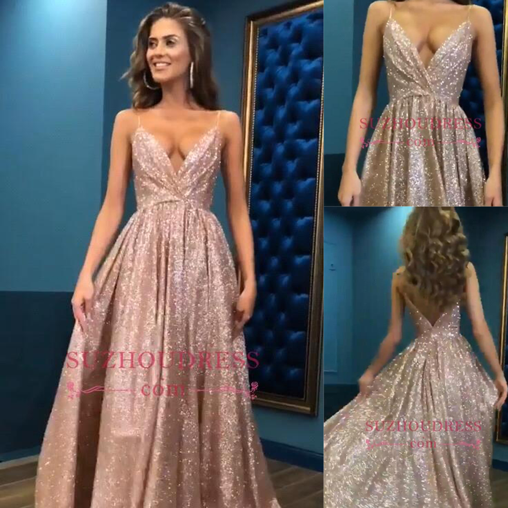 Spaghetti Straps Prom Dresses Long Rose Gold Sequins Wedding Party