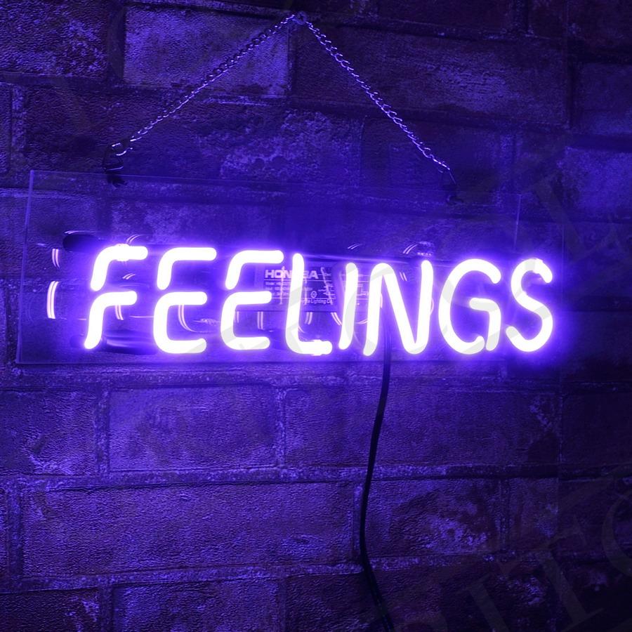 """/"""" FEELINGS/"""" Store Handmade Neon Light Artwork Pub Eye-catching Gift Real Glass"""