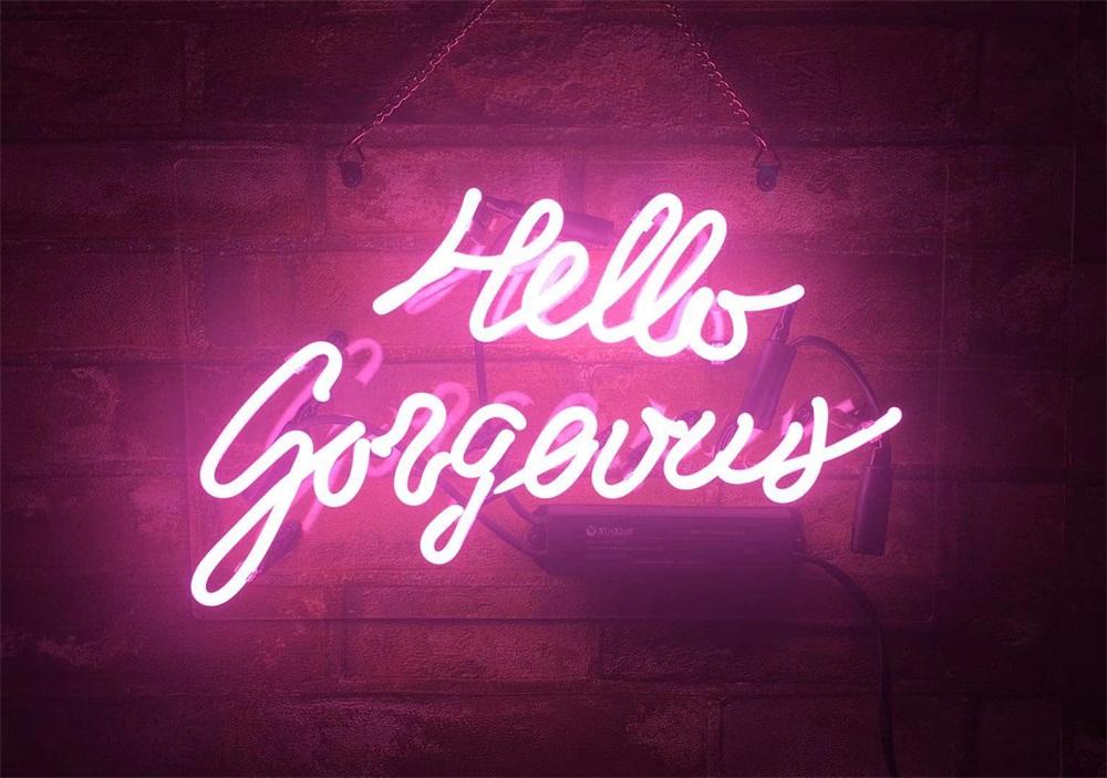 neon pink hello sign signs gorgeous light wall beer bar display glass room artwork hanging eye handmade gift x10 handcraft
