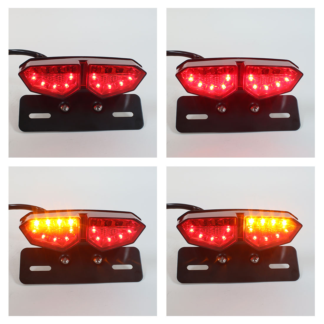 BOMPA Integrated LED Tail Brake Stop Turn Signal Light Smoke Lens with Red /& Amber Light License Plate Bracket fit Most Motorcycles and Bikes
