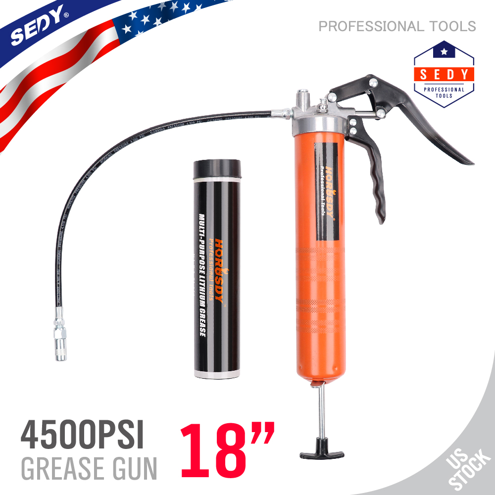 Pistol Grip Lever Action Grease Gun 3 Way Loading Heavy Duty Lubrication Hose