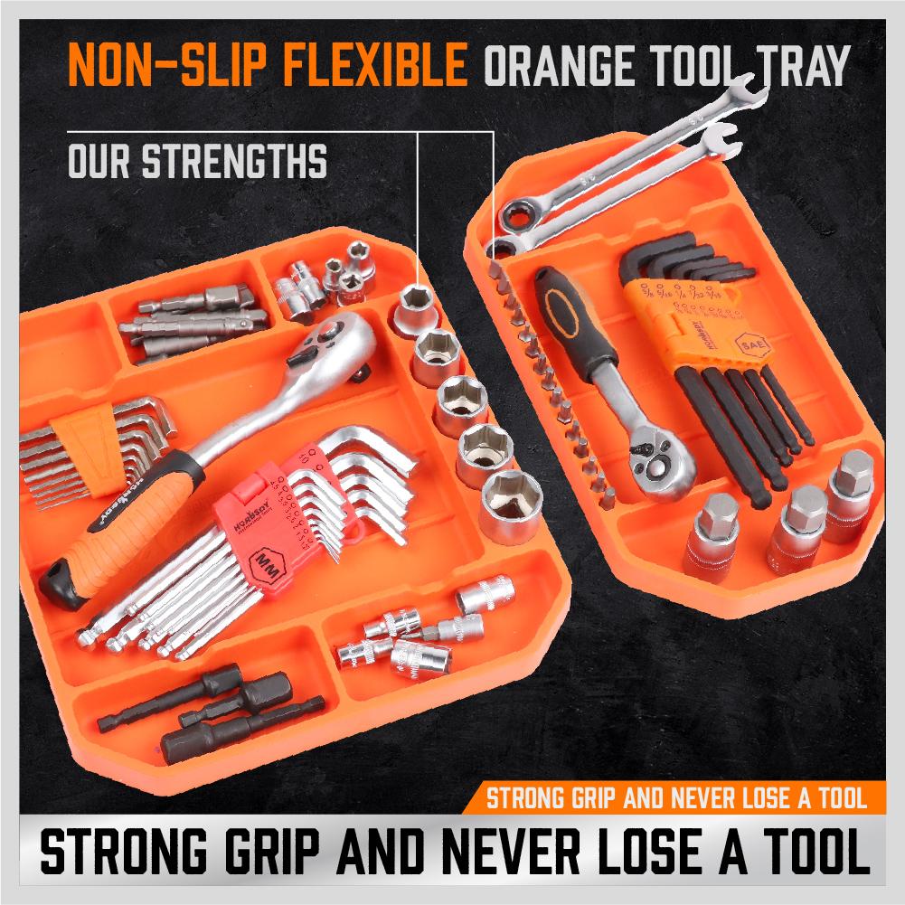 Tool Holder Grip Mat Tool Mat Tool Mats Easy Clean Up 3 Pack Socket Organizer SETROVIC Non-Slip Flexible Tool Tray No Magnets Tool Organizer