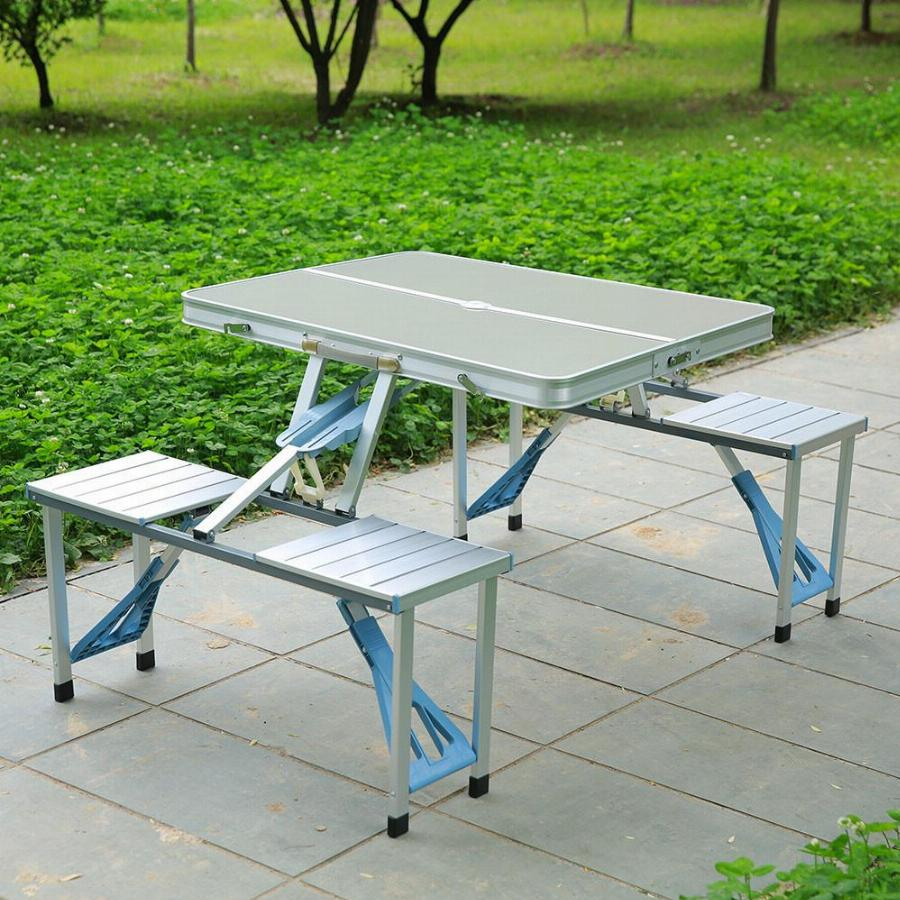 Folding Foldable Portable Table Picnic Outdoor Camping 4 Chairs Aluminium