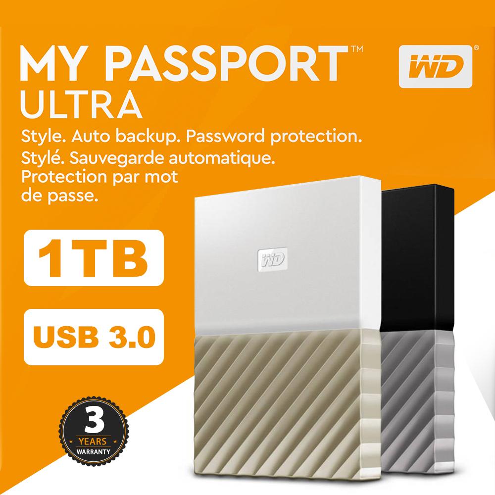 Details about 1TB WD MY PASSPORT ULTRA USB3 0 Portable Hard Drive Storage  Metal Finish W/B 3Y