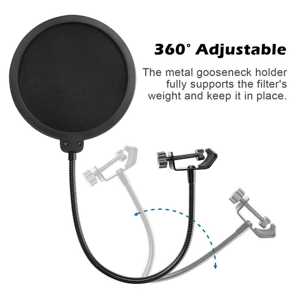 Microphone-Recording-Studio-Wind-Screen-Pop-Filter-Mask-Shield-Double-Layer thumbnail 4