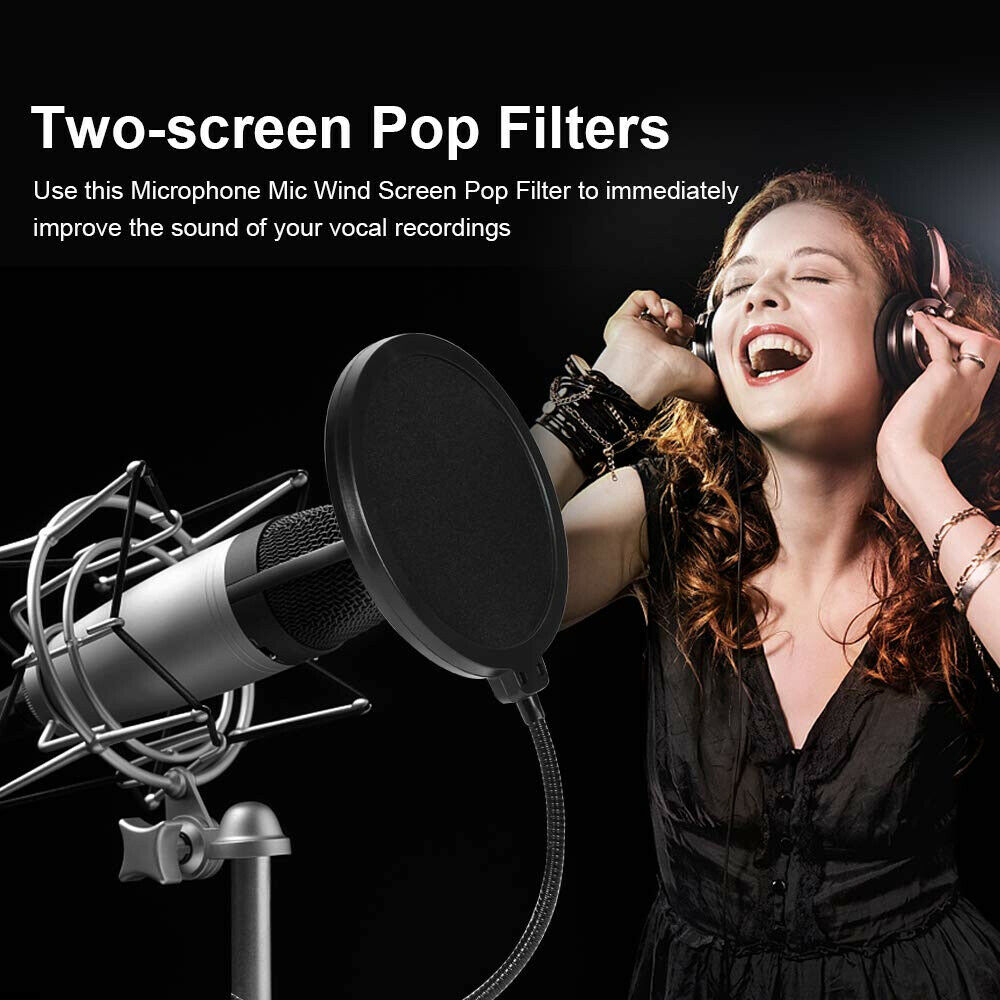Microphone-Recording-Studio-Wind-Screen-Pop-Filter-Mask-Shield-Double-Layer thumbnail 10