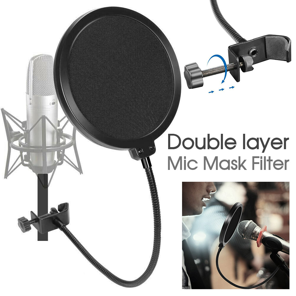 Microphone-Recording-Studio-Wind-Screen-Pop-Filter-Mask-Shield-Double-Layer
