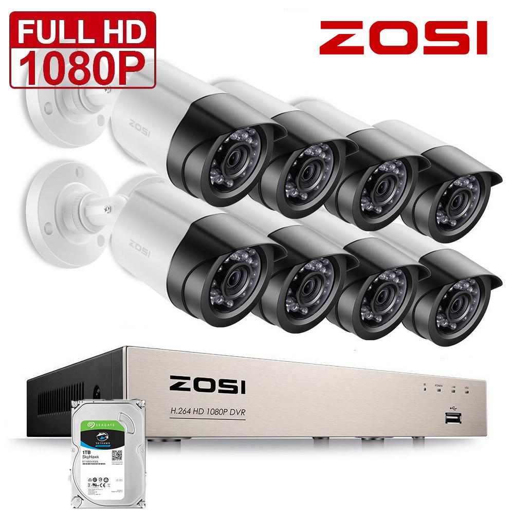 ZOSI 8CH HD 1080P DVR 4 Außen Dome Überwachungskamera Videoüberwachung System