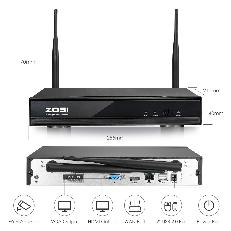 Wlan Zosi Details Funk Set 960p Kamera 8x Überwachungskamera 8ch Video Nvr Ip Außen Zu Fhd