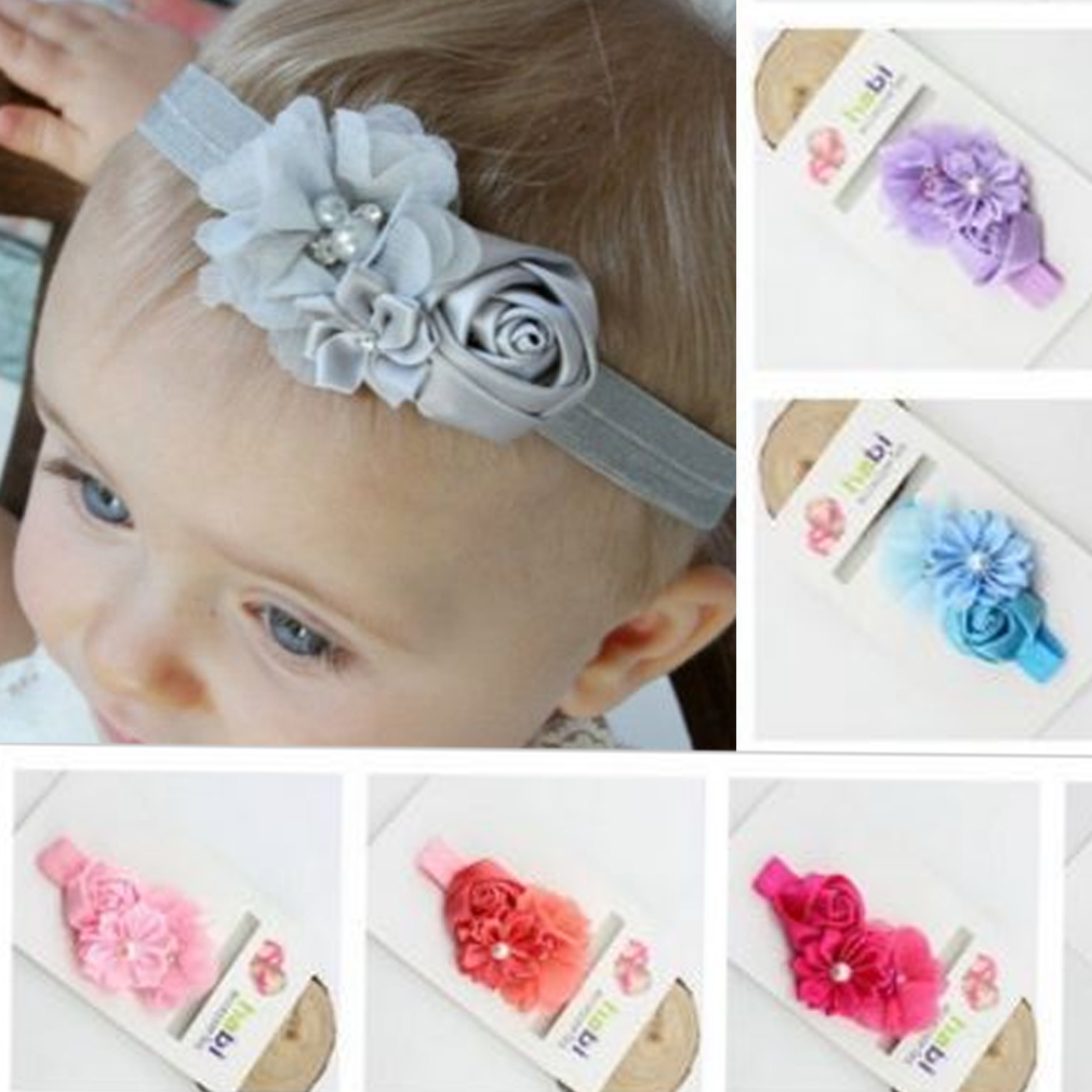 3pcs Girls Baby Headband Toddler Bow Flower Hair Band Accessories Headwear