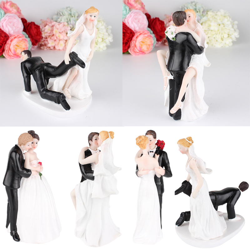 Romantic Funny Wedding Cake Topper Figure Bride /& Groom Couple Bridal Decoration