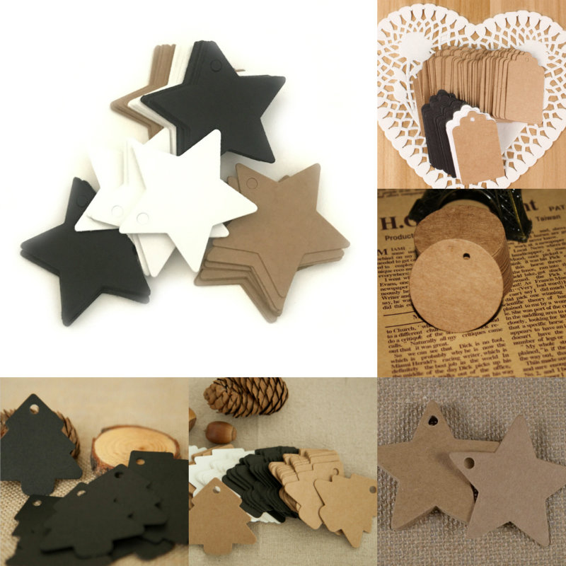 100pcs Kraft Paper Hang Tags Wedding Party Favor Label Price Gift Cards