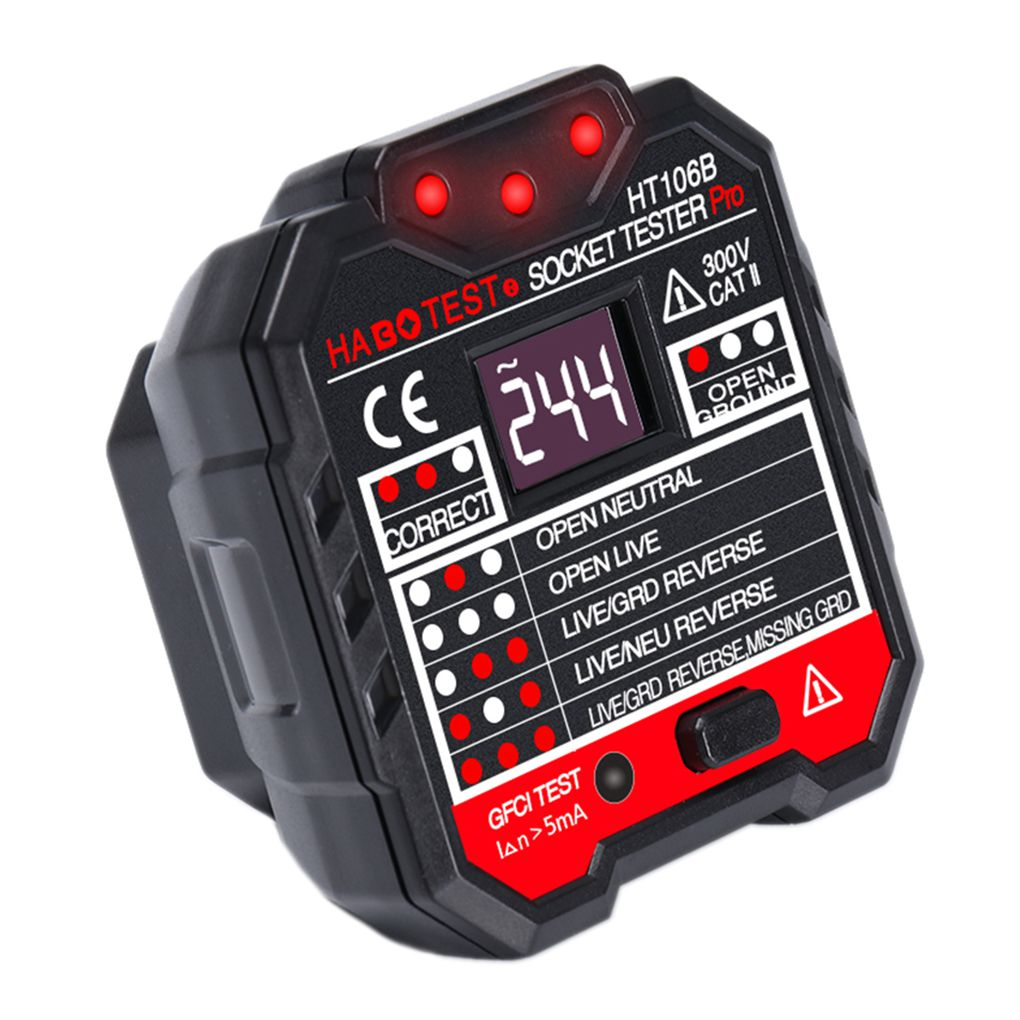 Ht106b Switch Socket Outlet Tester Voltage Detector Wall Plug Digital Circuit Breaker Finder Product Gallery