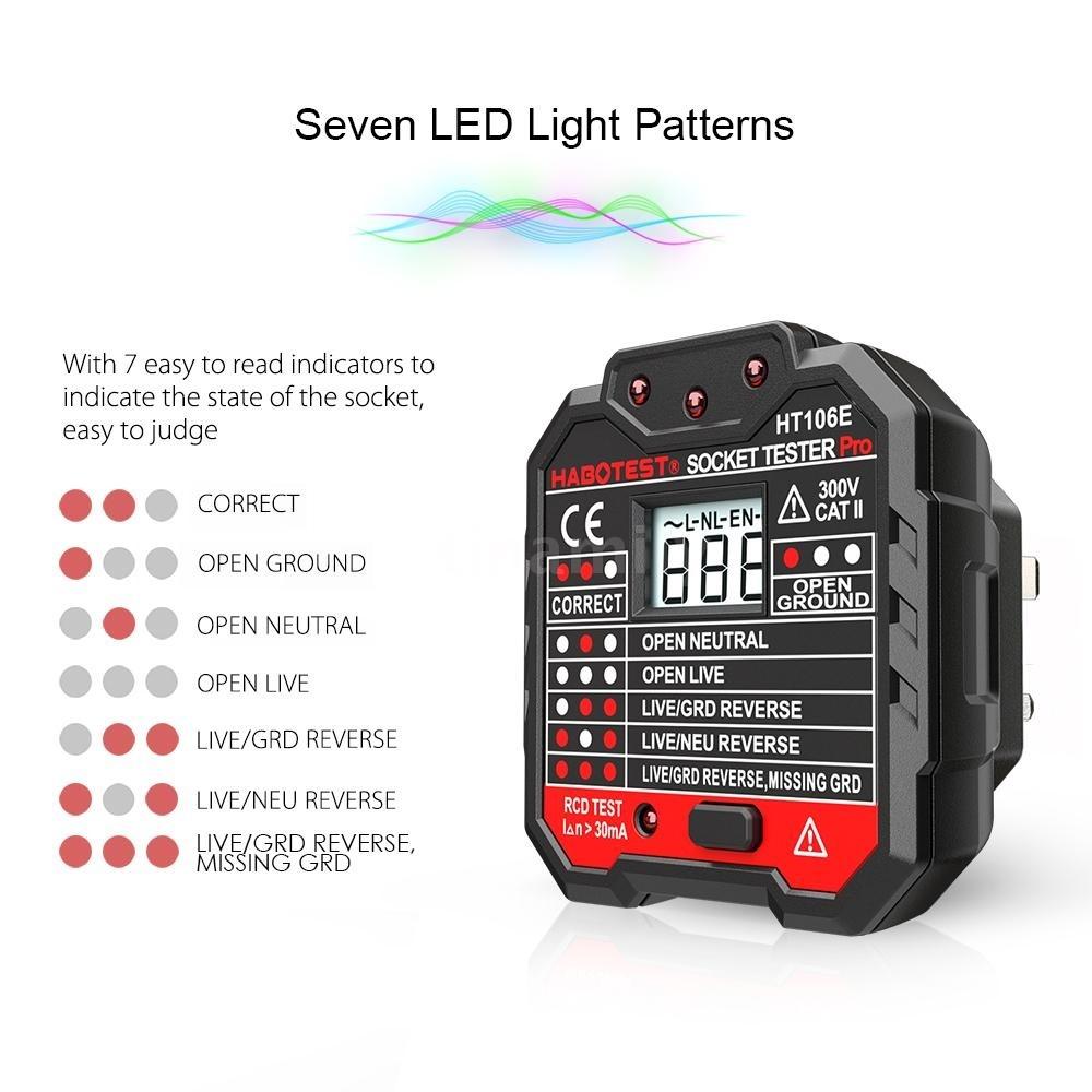 Ht106b Switch Socket Outlet Tester Voltage Detector Wall Plug Digital Circuit Breaker Finder