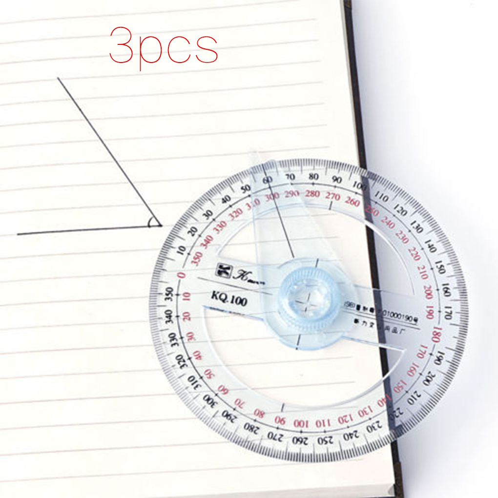 3pcs Circular 10cm 360 Degree Pointer Protractor Ruler Angle Finder Swing Arm