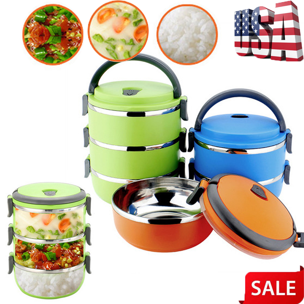 US 1//2 Layer Stainless Steel Insulated Bento Food Thermal Container Lunch Box
