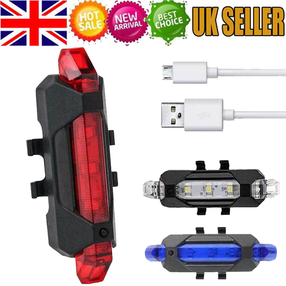 USB Rechargeable 4 Modes 5 LED Bike Bicycle Cycling Front Rear Tail Light Lamp