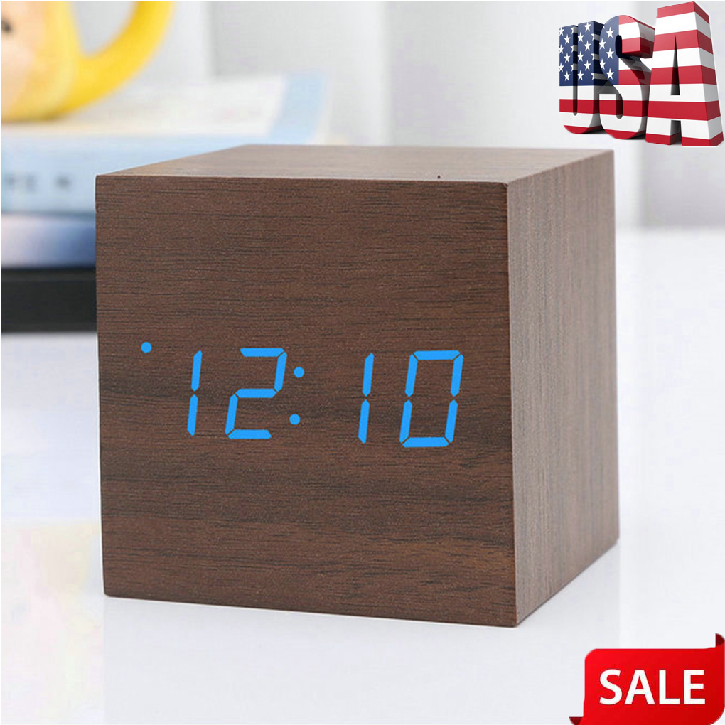 Details about Wooden Square LED Alarm Clock Desktop Table Digital  Thermometer Timer Display
