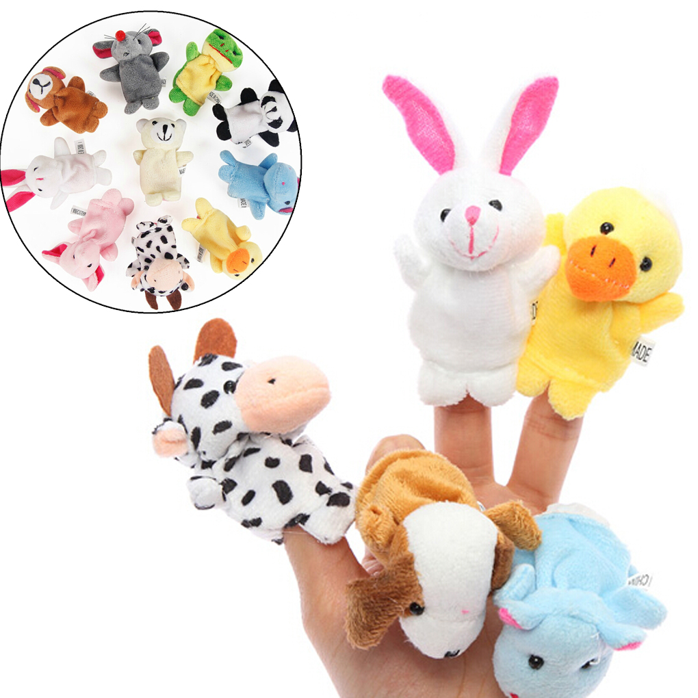5x Colorful Animals Finger Puppets Cloth Doll Baby Educational Hand Toy 8C
