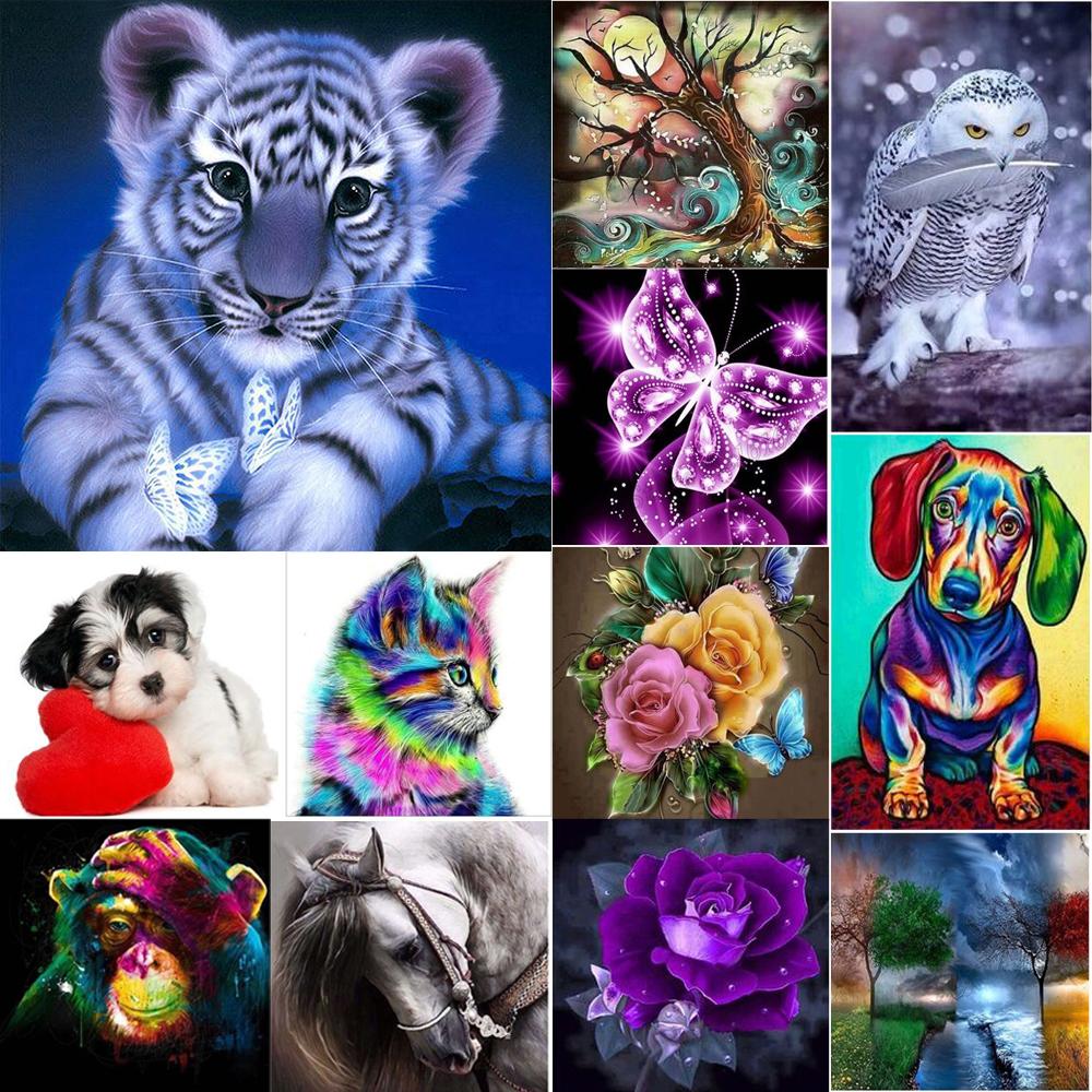 5D Diamond Painting Kits Cross-Stitching Embroidery Landscape Animal Art Crafts