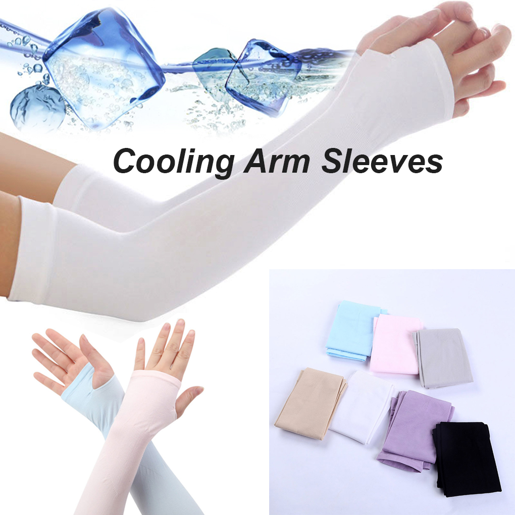 CA Unisex Outdoor Ice Arm Sleeves Sport Cooling Cover UV Sun Protection Sleeve