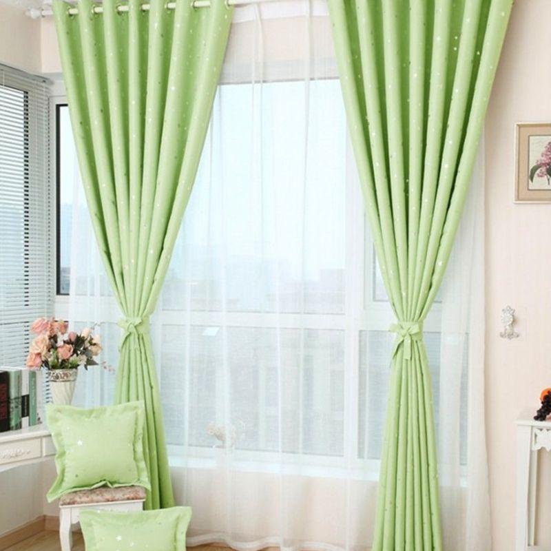 Blackout Ring Fabric Shiny Star Blockout Eyelet Drape Window Curtain Kid Bedroom