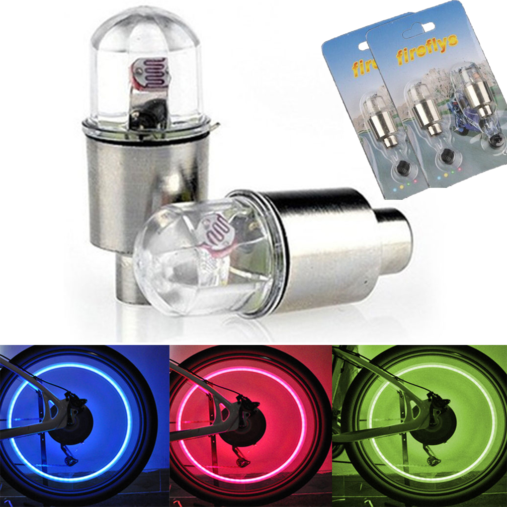 2x Ventilkappen LED Speichenlicht Fahrräder Bike Autos Fahrrad Ventil Wheellight