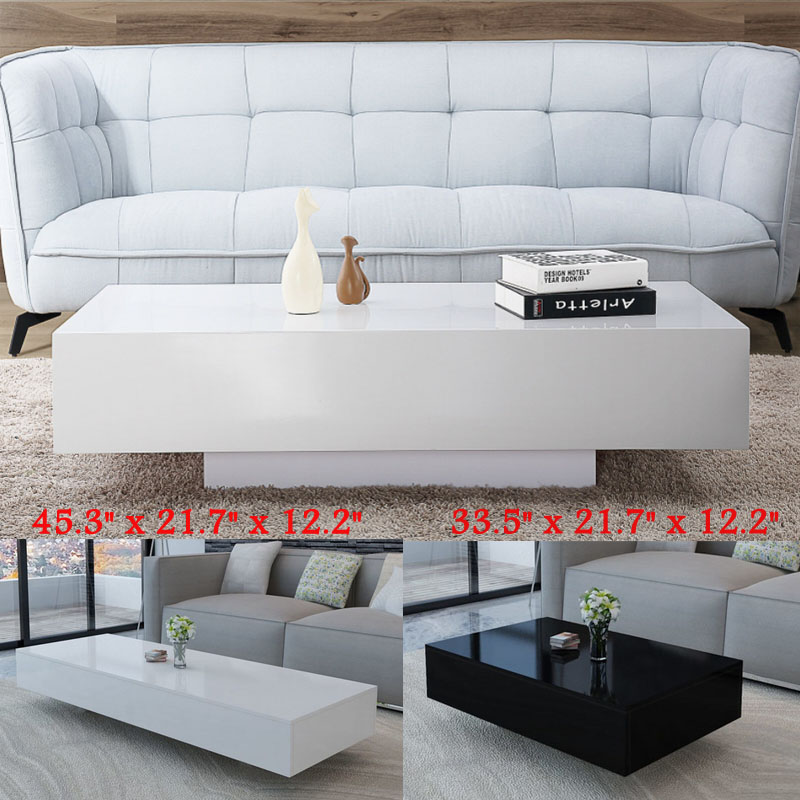 Details About Modern High Gloss Black White Coffee Table End Side Living Room Furniture