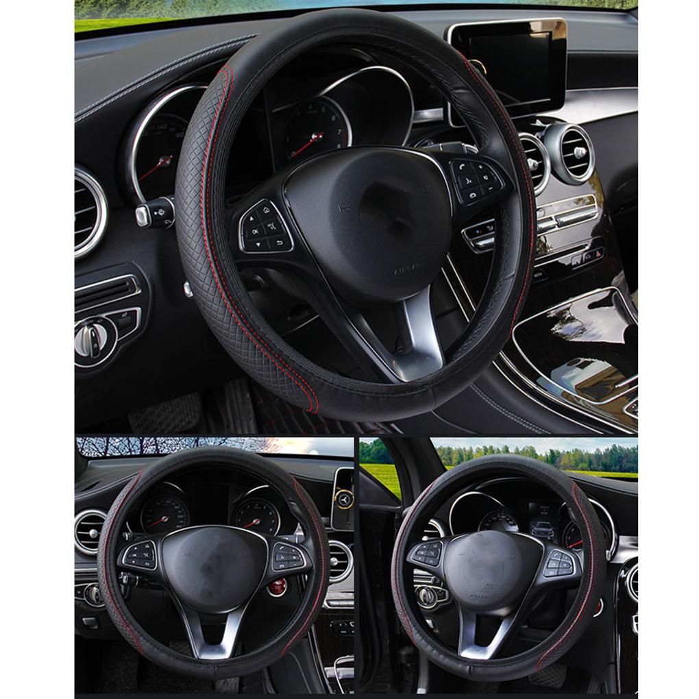 Universal 38cm DIY Real Leather Braid Auto Car Steering Wheel Cover Comfort Pad