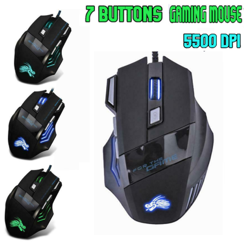 Wired 5500DPI LED Optical USB Gaming Mouse 7 Buttons Gamer Laptop Computer Mice