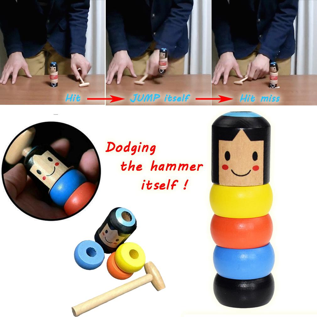 Wooden Immortal Daruma Small Man Stubborn Unbreakable Magic Game Toys Gift CO
