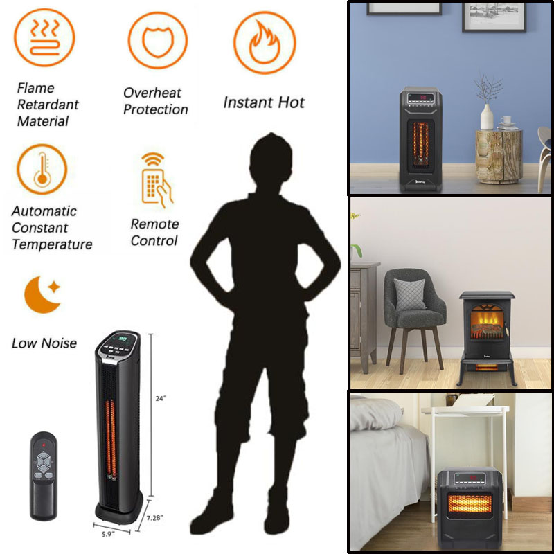 Remote Control Portable 1500W LED Quartz Space Heater Infrared Electric Heater