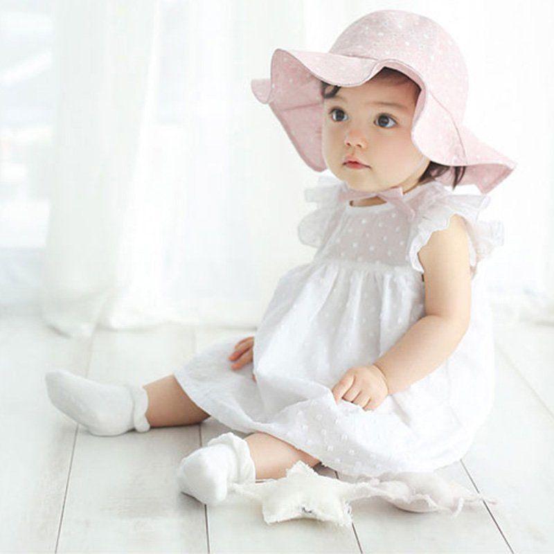 8b7a2c76b350c0 Wide Brim Baby Sun Hat Cotton Kids Hats Summer Beach Hat Girls ...