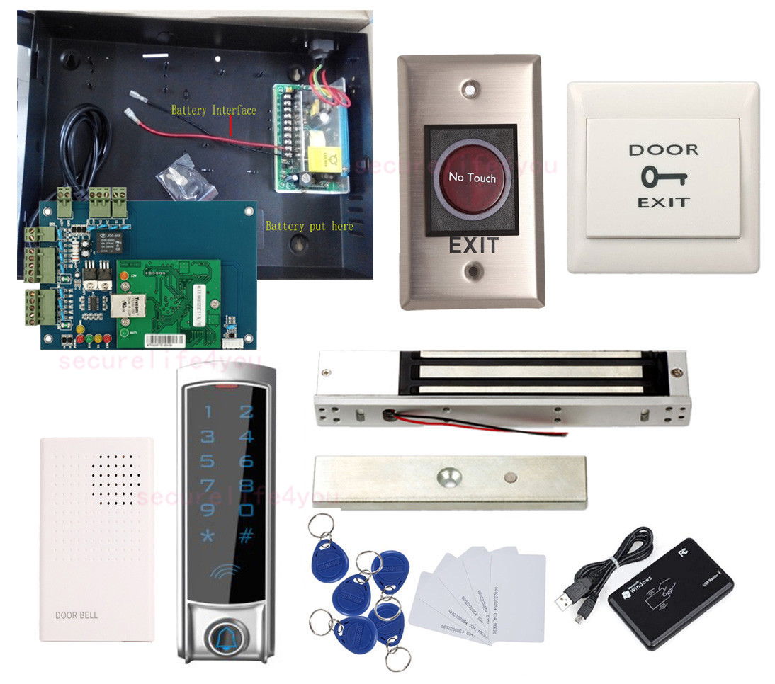 Details about Store Front Door Access Control Systems Mag Lock+Waterproof  Metal Touch Reader