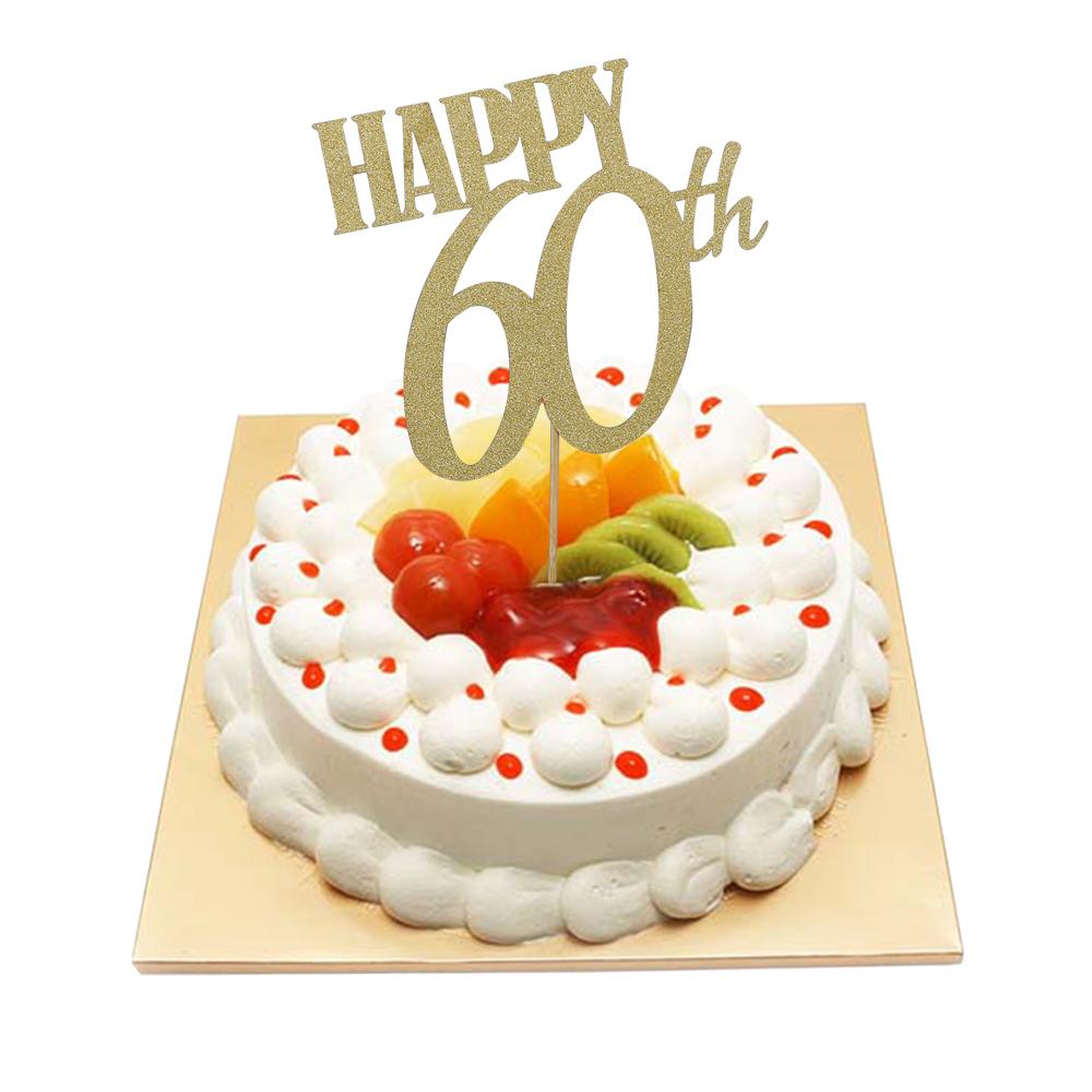 HAPPY 60th Birthday Wedding Anniversary Cake Topper Gold Glitter Sixty Party DIY