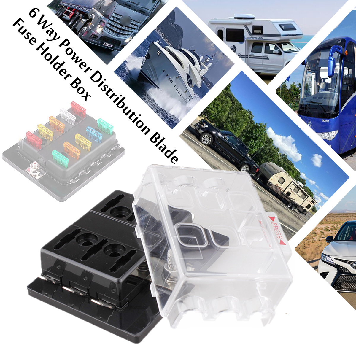 6-way atc fuse panel box holder 1 in 6 out for automotive car boat rv marine