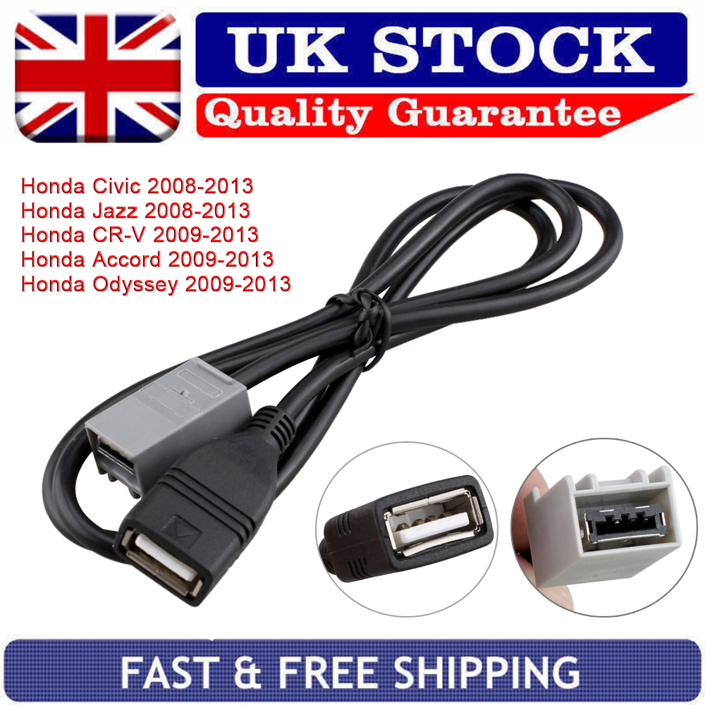 details about stereo aux usb cable adapter for honda civic jazz crv accord  odyssey 2008 - 2013