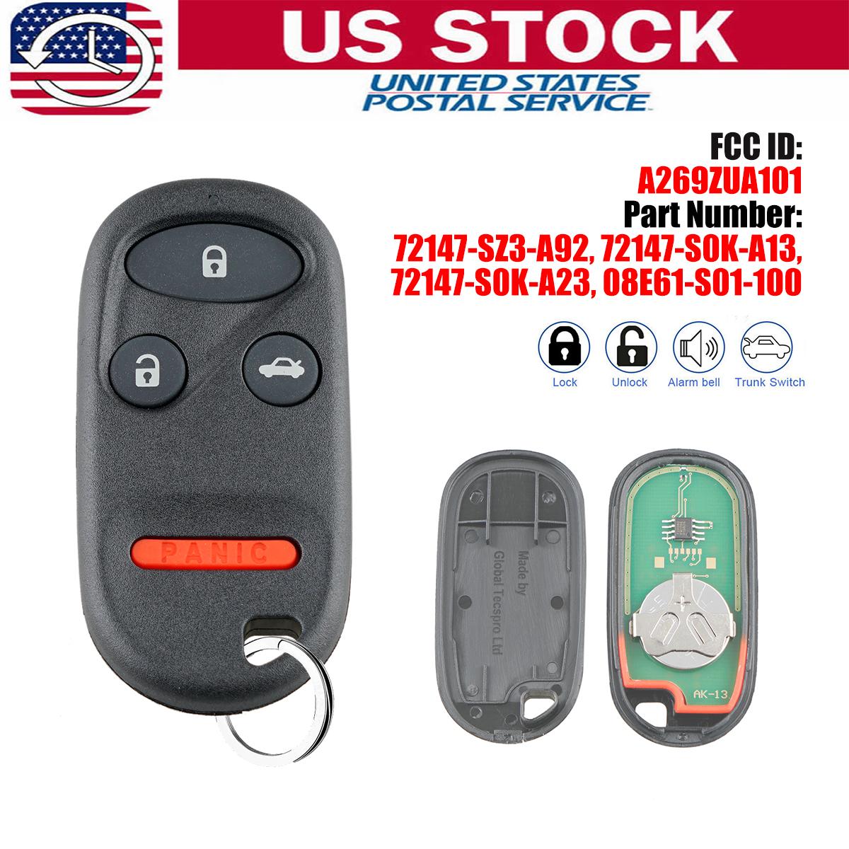 Key Fob Remote for Dealer Installed Honda Keyless Entry Systems Set of 2 A269ZUA101