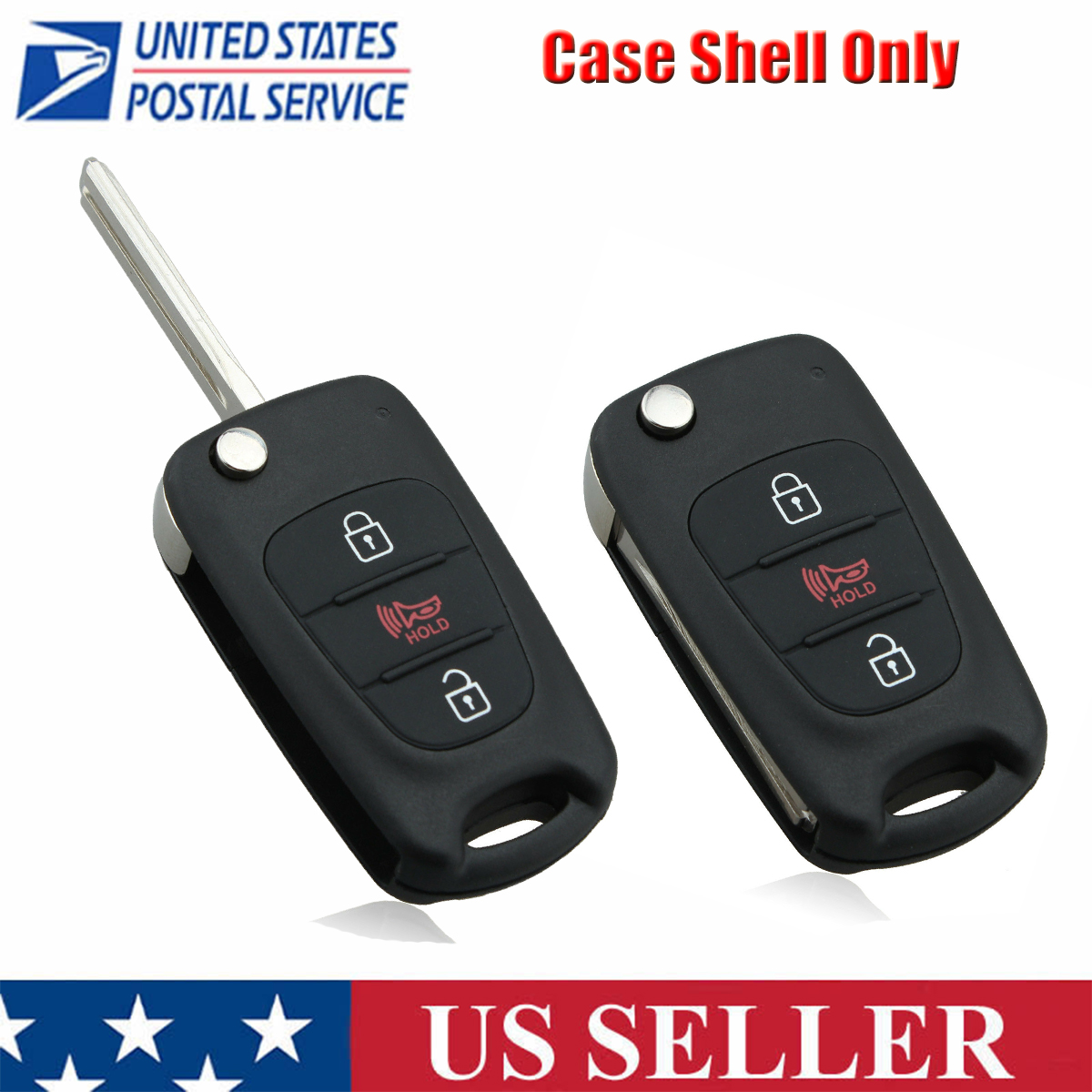 Fits KIA SOUL 3 Button Smart Remote Control Key Fob Case Shell With Uncut Blade