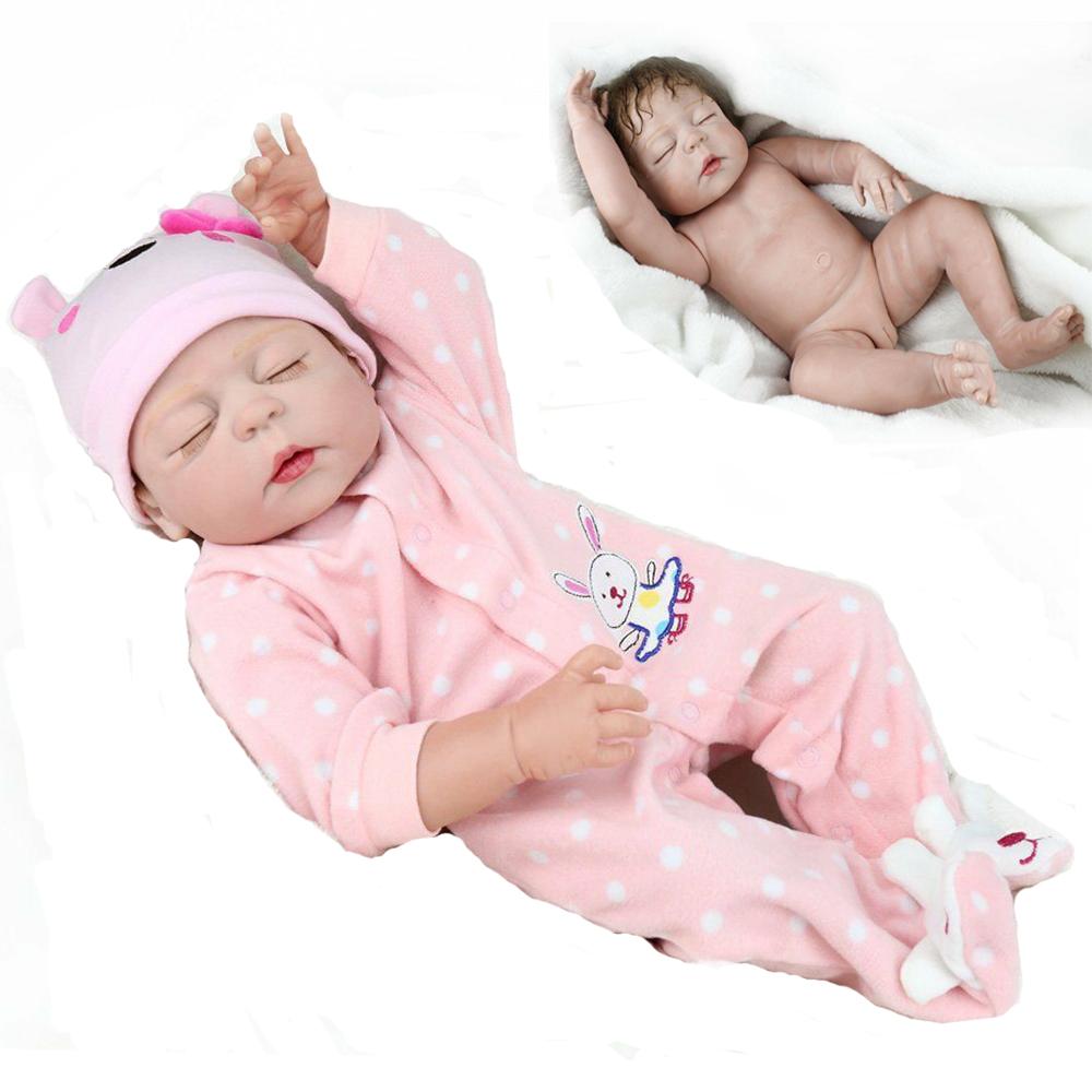 "23/"" Real Life Reborn Silicone Full Body Dolls Washable Newborn Baby Girl Dolls"