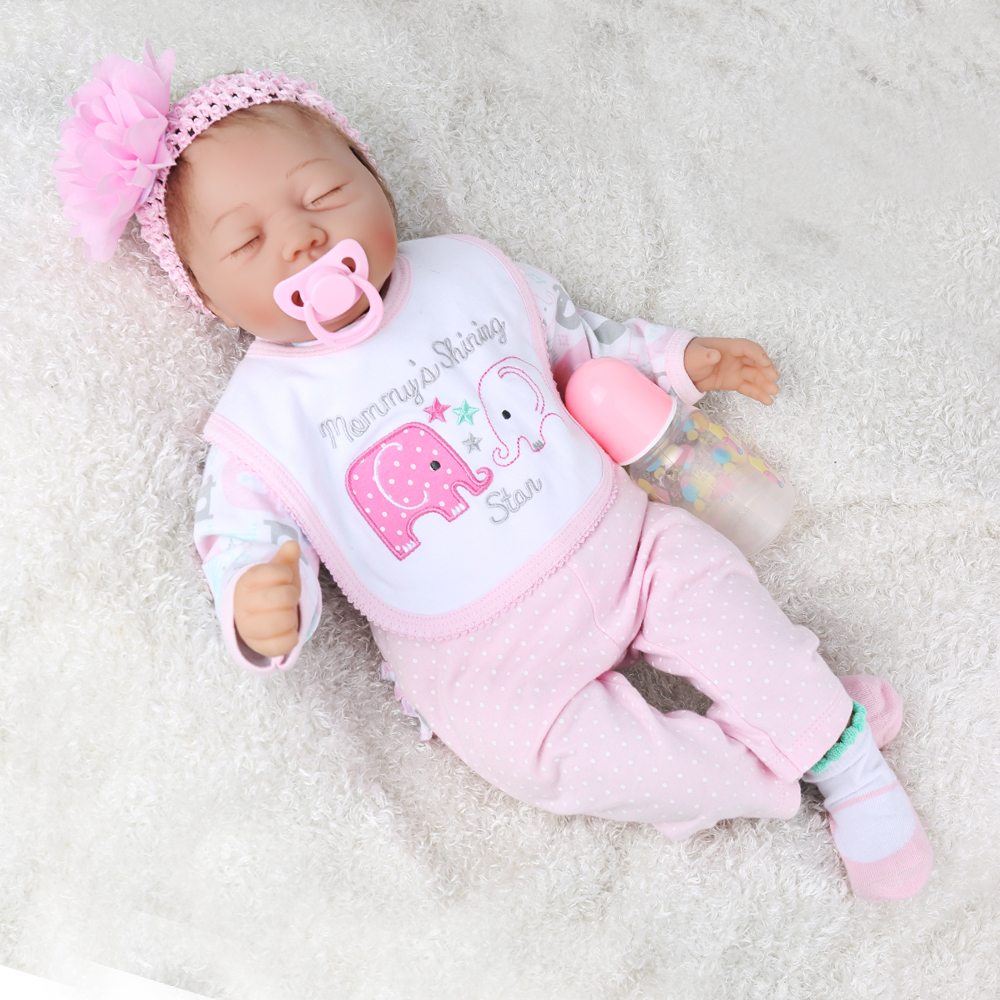 "22/"" Sleeping Real Lifelike Reborn Baby Doll Realistic Looking Baby Girl Toddler"