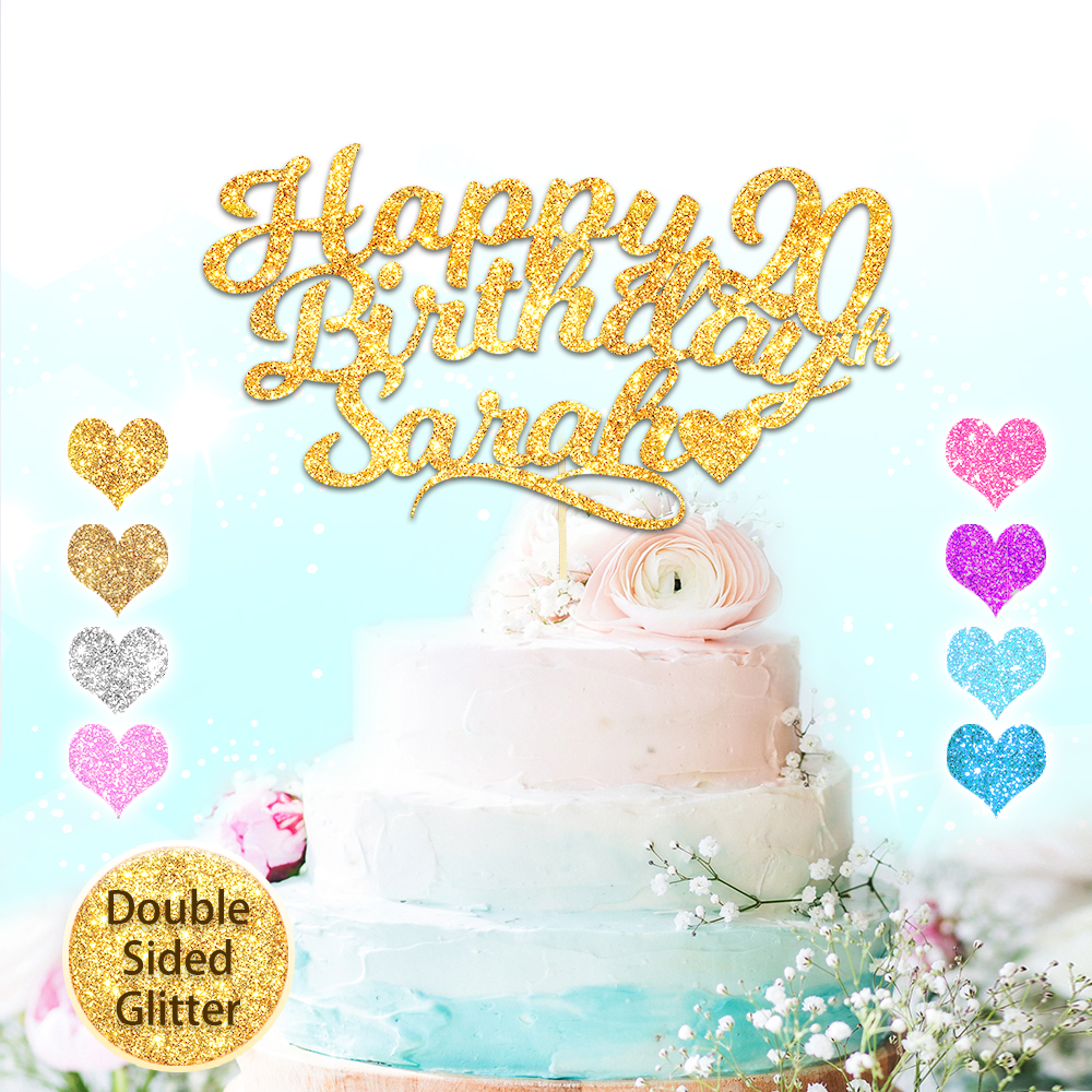 30 40 50 BIRTHDAY CARD Bow PERSONALISED Glitter Any name//Age Cake