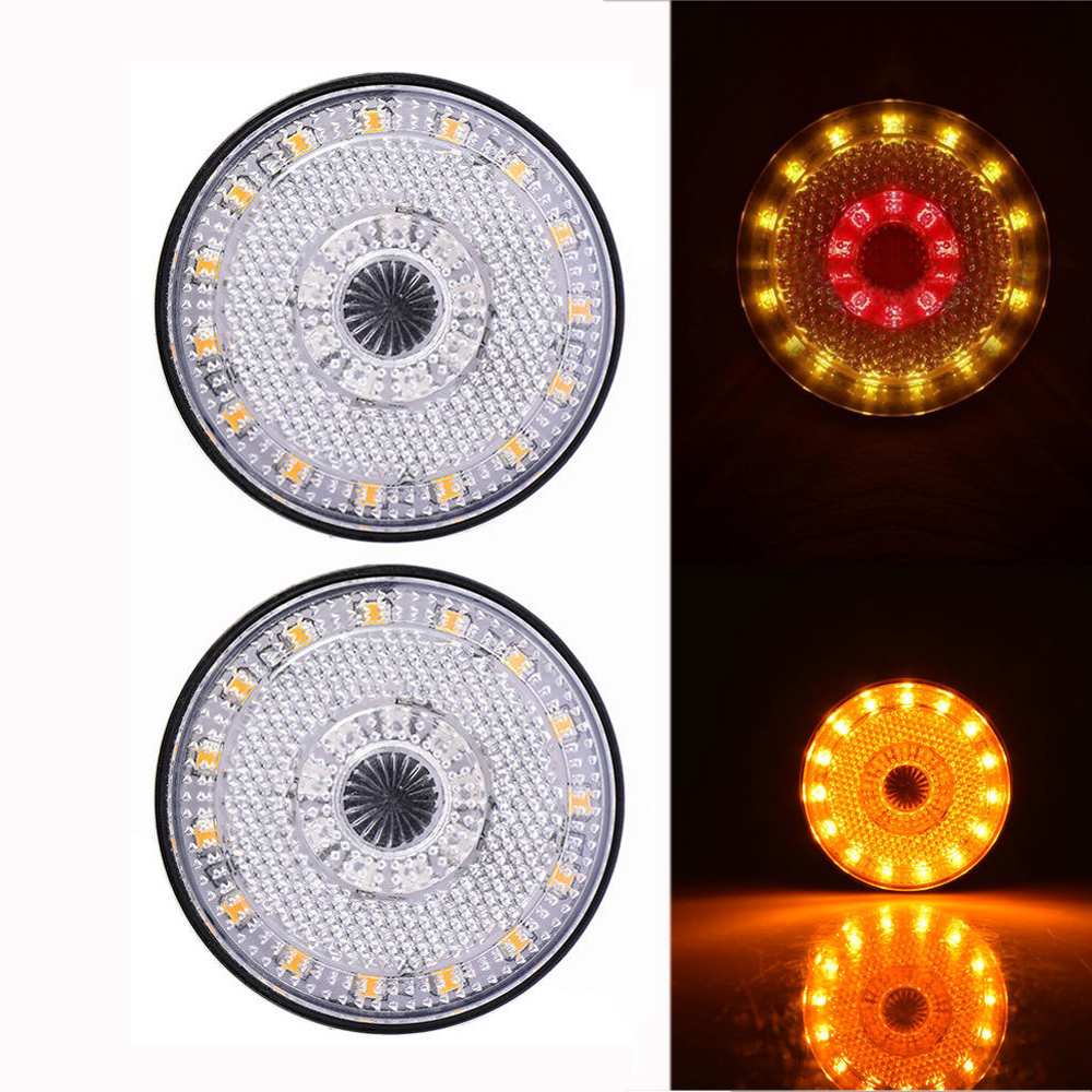 2Pcs 24LED Round Side marker Turn Signal Brake Flash Warning Light Smoke Lens