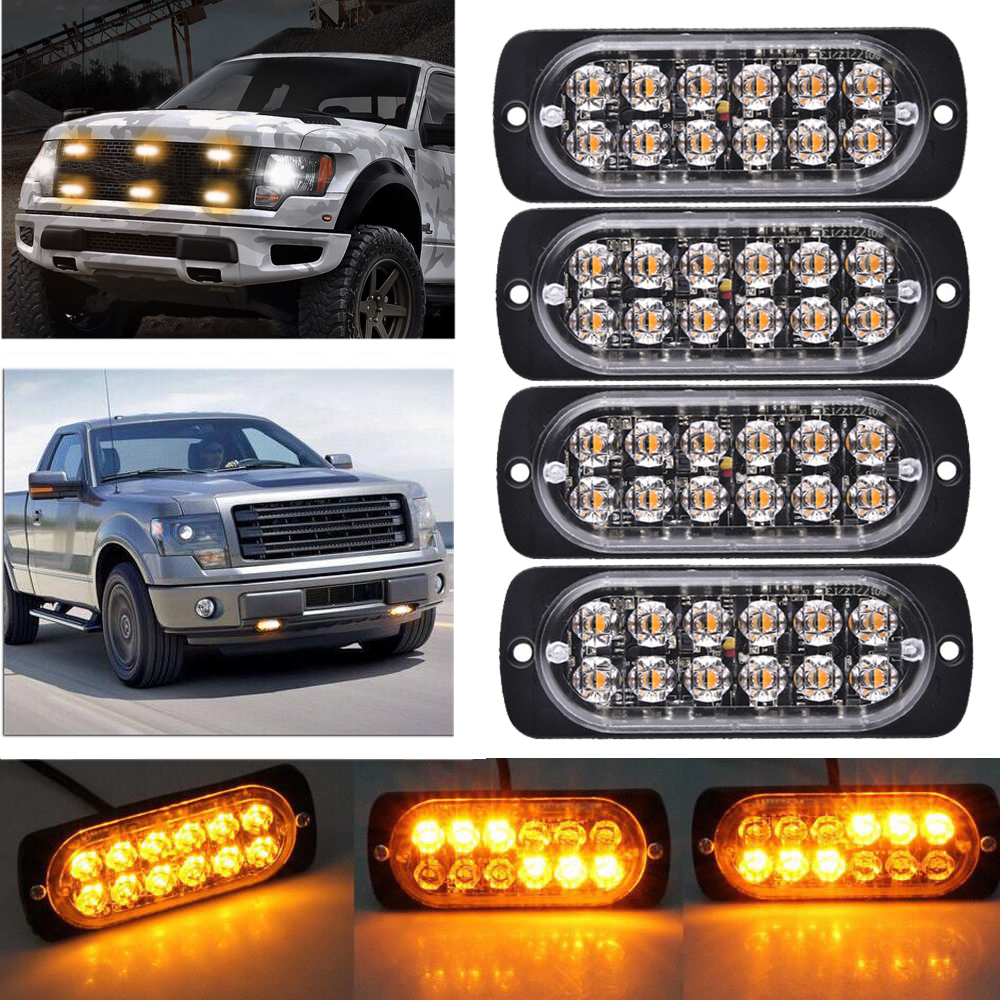 4pcs 4LED Amergency Warning Light Bar Work Light Amber Hazard Strobe Car Trucks