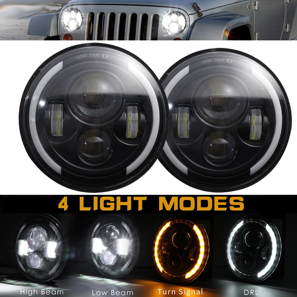 "7/"" Round LED Headlights Halo Angle Eye DRL Turn Light For Jeep Wrangler JK LJ TJ"