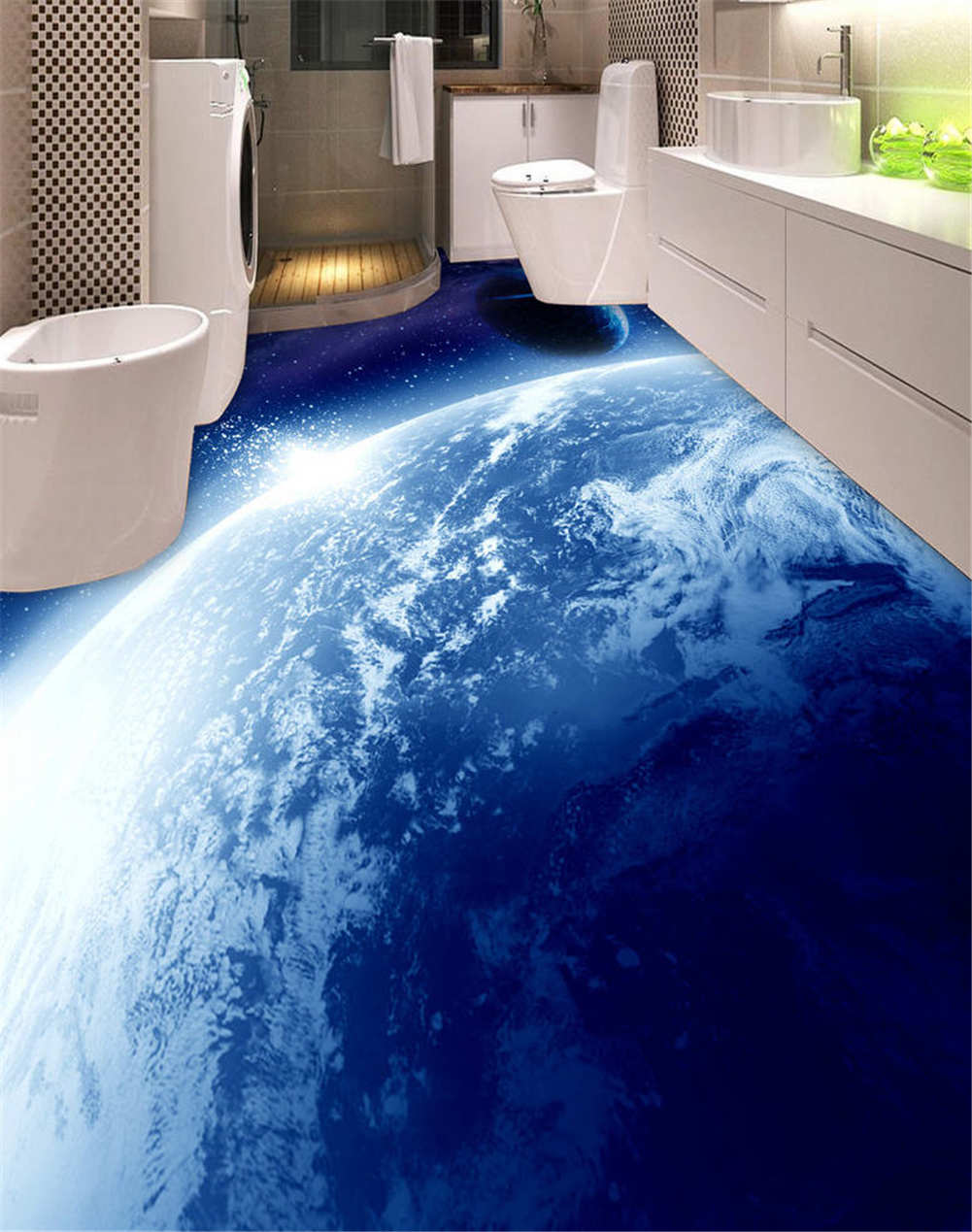 Night Asteroid 3D Floor Mural Photo Flooring Wallpaper Home Print Decoration